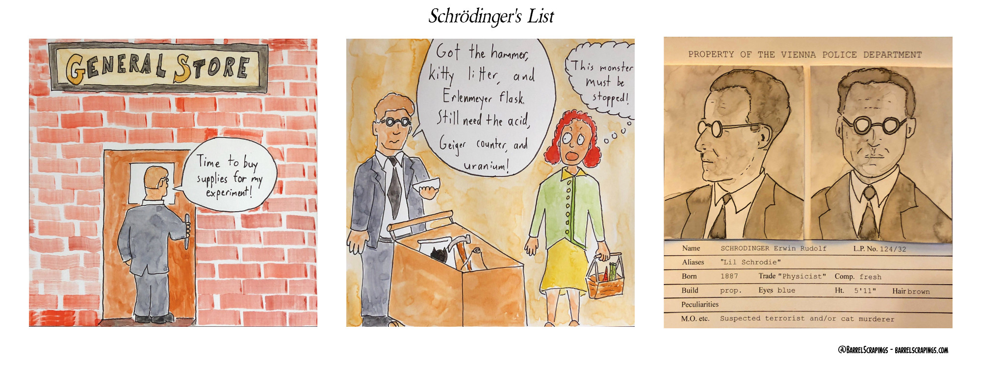 "Panel 1: Man in suit enters hardware store saying ""Time to buy supplies for my experiment!"". Panel 2: Man in suit has a shopping cart filled with some items. A woman looks on aghast. Man: ""Got the hammer, kitty litter, and Erlenmeyer flask. Still need the acid, Geiger counter and uranium!"". Woman thinks, ""This monster must be stopped!"". Panel 3: Two mugshots of the man are shown rendered in realistic manner in black and white. It's a booking sheet. ""Property of the Vienna Police Department."" Name: SCHRODINGER Erwin Rudol. Aliases ""Lil Schrodie"" M.O. etc, ""Suspected terrorist and/or cat murderer"""